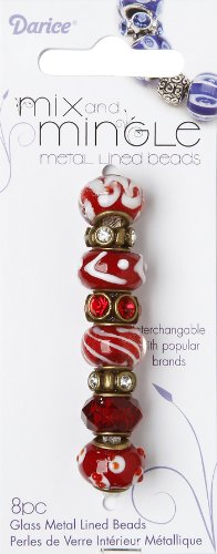 Darice Mix and Mingle Bronze Metal Lined Beads, Red