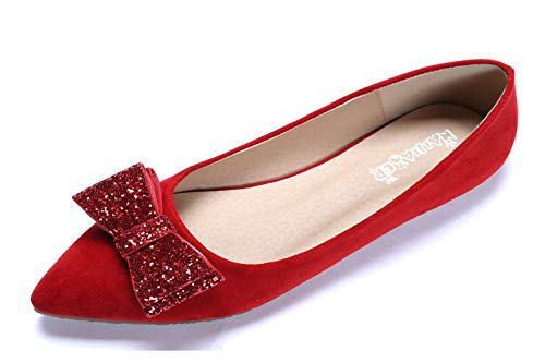 CANPPNY Comfortable Classic Flats Women's Shoes Bow Slip On Ballet Flats red Dress Shoes