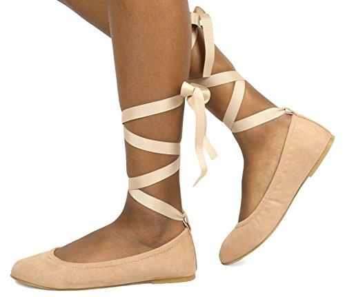 Suede Straps Ankle Shoes Nude Sole Women's Fina Ballet Straps DREAM PAIRS Flats qwBqRS