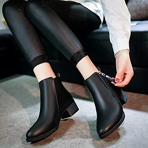 Black US8.5   EU39   UK6.5   CN40 Black US8.5   EU39   UK6.5   CN40 Women's shoes PU Winter Comfort Boots Chunky Heel Black Wine