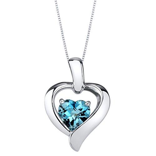 London Blue Topaz Sterling Silver Heart in Heart...