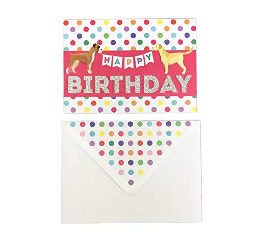 Cute Embellished Boxer & Labrador Dog 5 x 7 Happy Birthday Greeting Card & Envelope