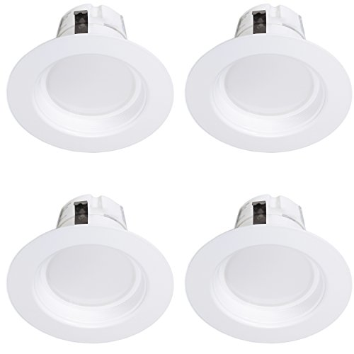 4-Inch 850 Lumens Maxxima Dimmable LED Retrofit Downlight 4000K Neutral White, 850 Lumens Energy Star, 75 Watt Equivalent Straight E26 connection Cable (Pack of 4)