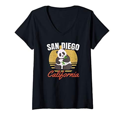 Womens San Diego Shirt-Retro Panda Zoo-California State T Shirt V-Neck T-Shirt ()