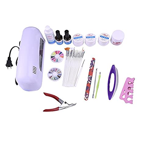 Amazon.com : Xin al source Nail Art Pro envío DIY Conjunto Completo Empapa de Polaco Ultravioleta Del Gel Set de manicura 9 W LED Que Cura La Lámpara Kit ...