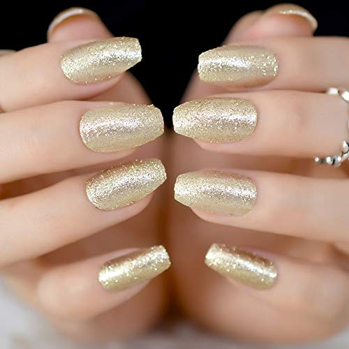 CoolNail Champagne Coffin Ballerina Fake False Nails Tips Full Cover Acrylic Nail Art Glitter Sparkles Manicure Dust Decor Summer Wear -