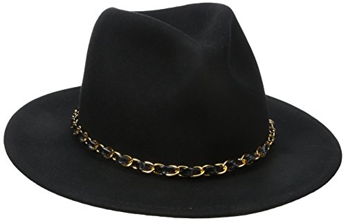 San Diego Hat Company Women's Fedora With Gold Chain Band, Black, One Size (Diego San Fedora)
