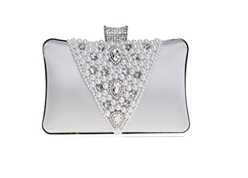 Clutch Bag Colors Pearl with Purse Evening Strap Gift 6 Faux Removable for Party Bridal Silver Bag Prom Ladies Handbag Beaded Shoulder Bag Wedding dfA1tdq