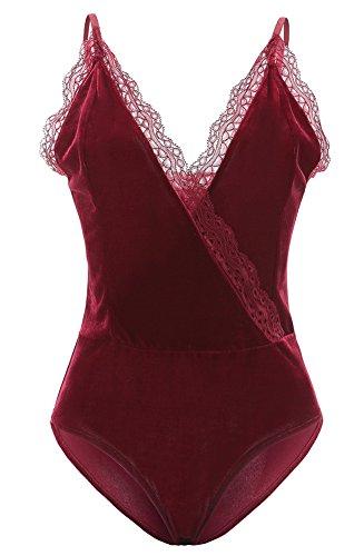 BEEY Womens Deep V-Neck Lace Spaghetti Straps Velvet Bodysuit Tops (Medium, Dark Red)