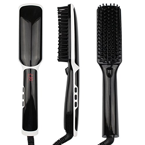 LCD Ionic Hair Straightener Brush,Massage Hair Straighten...