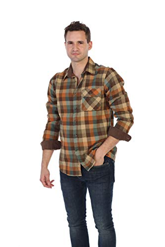 (Gioberti Men's 100% Cotton Flannel Shirt with Corduroy Contrast, Orange/Khaki / Teal, X-Large)