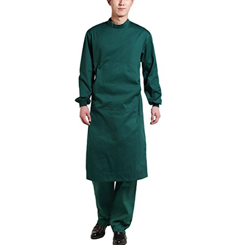 Surgeon Scrub - Jiyaru Surgical Gown for Men Unisex Doctor Workwear Medical Uniforms Lab Coat Green L