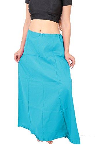 Sari Blue Turquoise (Wevez Indian Women Cotton Petticoat for Saree, Medium, One Size (Turquoise))