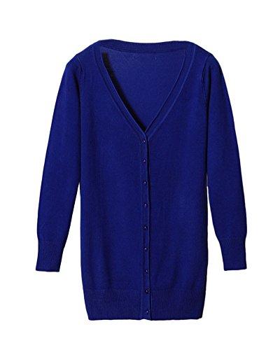 A Cardigan Blu Con Donna V Scollo Lavorato PengGeng A Zaffiro Maglia Lungo g87TcH1pW