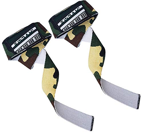 EMRAH Lifting Straps (Pair) - Weightlifting Hand Bar Wrist Support Hook Wraps, Wrist Supports Assist Grip Strength Weight Lifting Straps for Bodybuilding, Power Lifting (Camo Green, Standard) ()