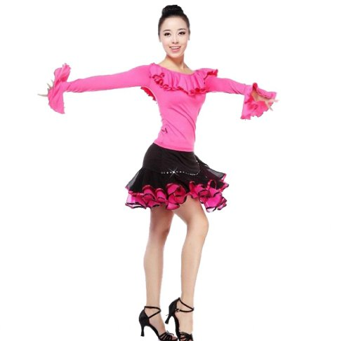 para Noche Roja Eyekepper Rosa Vestido Larga Manga mujer qp5ARIw5