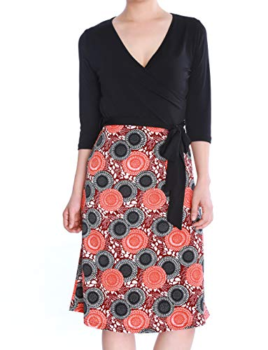 May&Maya Women's Faux Wrap Matte Jersey Surplice Bodice Midi Fit Flare Dress (Black, ()