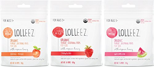 Lolleez Organic Throat Soothing Pops for Kids with Organic Honey - 3pk Variety Pack ...