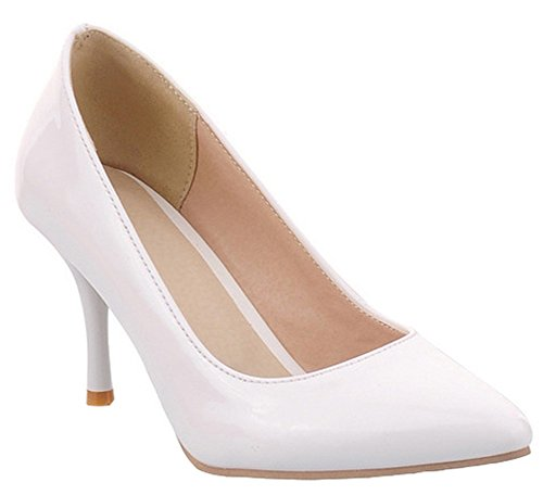 IDIFU Womens Classic Low Top Slip On Pumps High Heels Stiletto Closed Pointed Toe Office Shoes White ZOVhttW