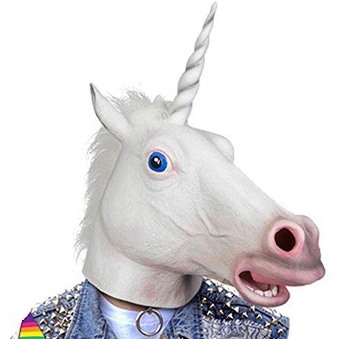 [GoLoveY Latex Horse Unicorn mask with One Pair Hooves Gloves (White)] (Horse Hoof Shoes Costume)