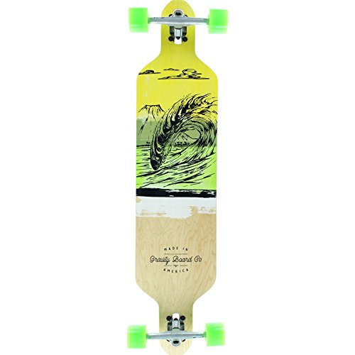 Gravity Drop Carve Liquid Lava Green Complete Longboard Skateboard -9.5x41
