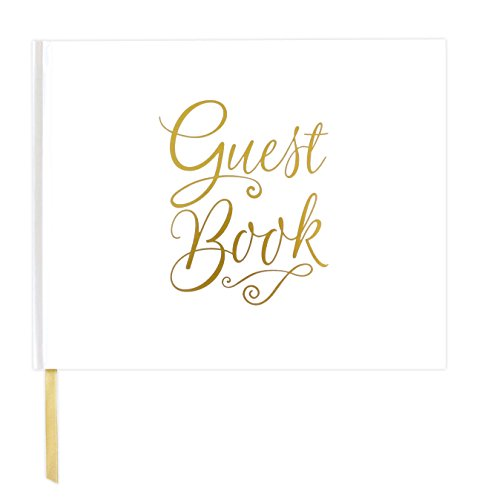"bloom daily planners Wedding Guest Book (120 Pages) Guest Sign-in Book Guest Registry Guestbook - White Cover with Gold Foil, Gilded Edges and Gold Page Marker Hardbound 7"" x 9"" - Classic"