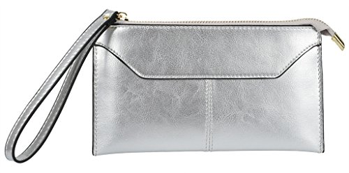 Yaluxe Women's Large Leather Zipper Pocket Purse Clutch Wallet with Wrist Strap Fit Iphone6s Plus (Gift Box) Silver-Tone