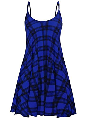 21fashion Femmes Imprimé Dames Top Robe Swing Cami Sans Manches Moulantes Été Mini Robe Tartan Bleu Uk 8-26
