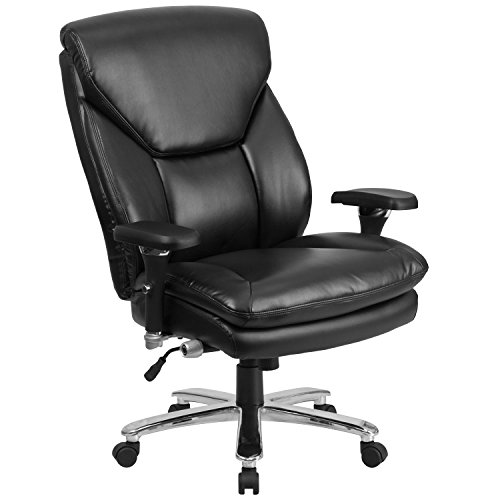Swivel Adjustment Seat Series Pneumatic (Flash Furniture HERCULES Series 24/7 Intensive Use Big & Tall 400 lb. Rated Black Leather Executive Swivel Chair with Lumbar Knob)
