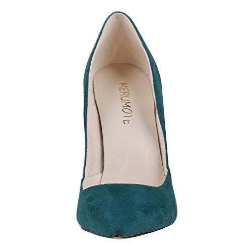 MERUMOTE - Zapatos de tacón fino Mujer Verde - Dunkel Grün-Wildleder