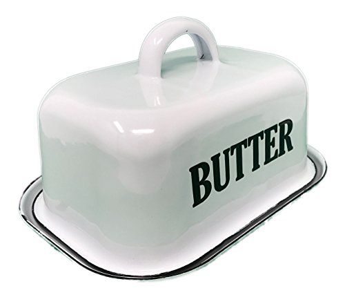 Your Heart's Delight White Enamelware Butter Dish, Multicolor