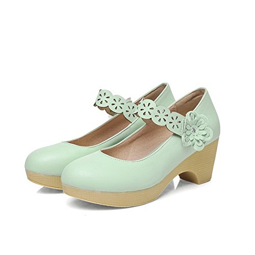 BalaMasa Womens Round-Toe Platform Chunky Heels Low-Cut Uppers Urethane Pumps-Shoes Green gcKbAIH
