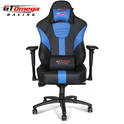 GT Omega MASTER XL Racing Office Chair Black and Blue Leathe
