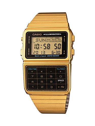 Casio DATABANK Japanese Quartz Watch with Stainless Steel Strap, Gold, 22 (Model: DBC611G-1VT)