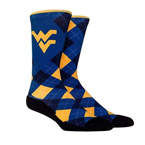 Virginia West Shorts Mountaineers - NCAA Super Premium College Fan Socks (L/XL, West Virginia Mountaineers - Argyle)
