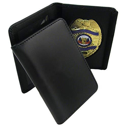 ASR Federal Genuine Leather Unisex Law Enforcement Badge Holder Wallet Case - Shield, Black