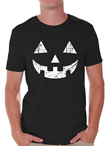 Awkward Styles Men's Jack O' Halloween Pumpkin T Shirts Tops Halloween Easy Costume Idea Black L ()