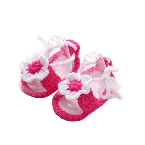 Kimanli Crib Shoes, Crochet Casual Baby Girls Handmade Knit Sock Flower Infant