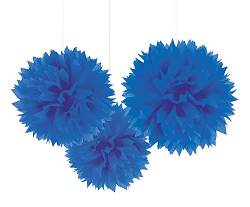 Amscan Bright Royal Blue Fluffy Paper Balls, 3 Ct. | Party Decoration