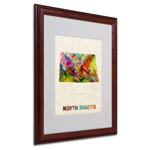 - North Dakota Map Matted Framed Art by Michael Tompsett in Wood Frame, 16 by 20-Inch