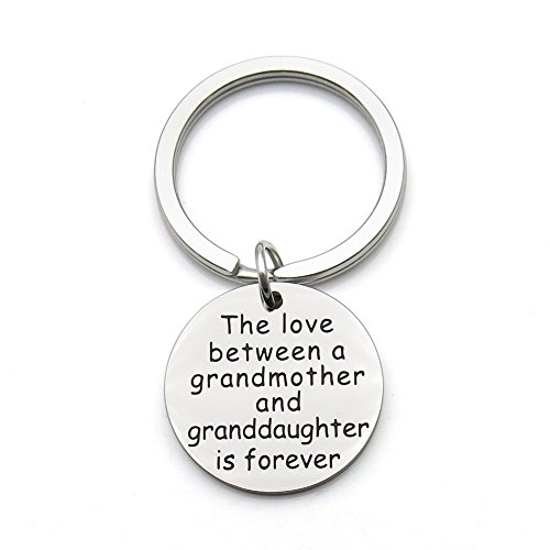 The Love Between a Grandmother and Granddaughter is Forever Stainless Steel Pendant Keychain Key (Best Grandma Key Chains)