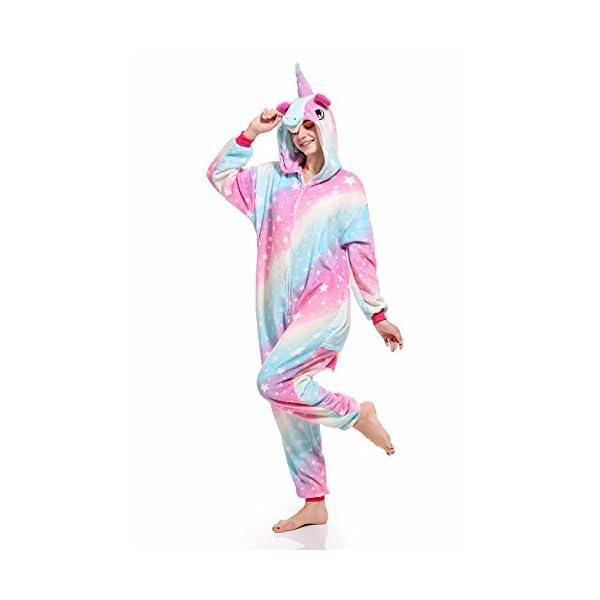 molto carino 4951b 53429 Pigiama Unicorno Kigurumi Donna Uomo Aggiorna Flanella Cappuccio Pigiama  Tuta Intera Onesie Stitch Sleepwear Anime Costume per Compleanno Carnevale  ...