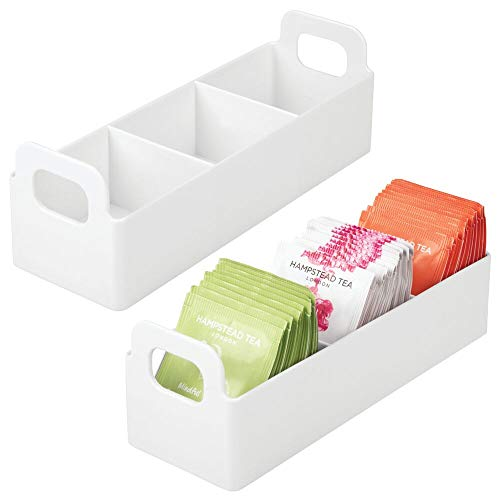 "mDesign Small Plastic Kitchen Pantry, Cabinet, Countertop Organizer Storage Station Tea Caddy Holder - Holds Beverage and Tea Bags, Sweetener, Individual Packet Condiments - 9"" Long - 2 Pack - White"