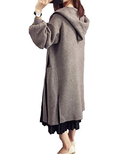 JIANGWEI レディース ロング ニット カーディガン 長袖 ジャケット トップス 厚手 防寒 フード付き ゆったり ファッション カジュアル おしゃれ