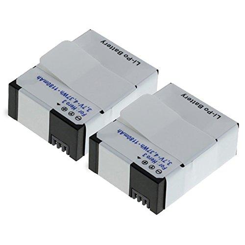 2x subtel® Batteria premium per GoPro Hero 3, Hero 3 White, Hero 3 Black Hero 3 Silver, Gopro Hero 3 +, Hero 3+, Hero 3 Plus (1180mAh) AHDBT-201,AHDBT-301,AHDBT-302 Batterie di ricambio, accu sostituzione, sostituto