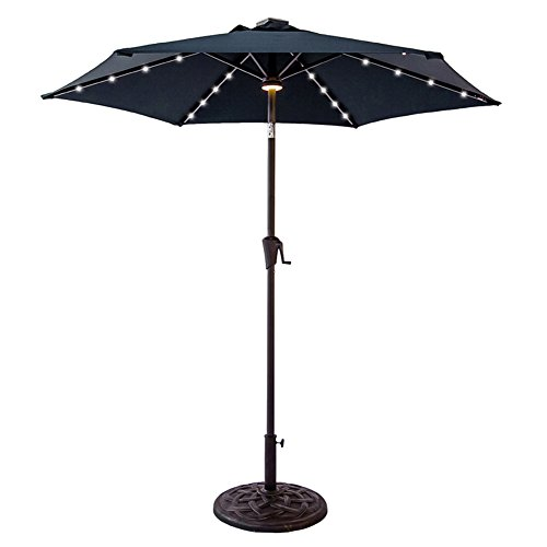 FLAME&SHADE 7 foot 5 inch LED Light Patio Outdoor Market Umbrella with Crank Lift, Push Button Tilt, Navy Blue (Table Umbrella Round Bistro)
