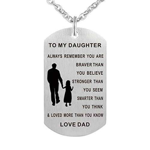 Dad Mom To my Daughter Dog Tag Pendant Necklace Military Jewelry Personalized Custom Dogtags Love Gift (Dad daughter(braver stronger smarter))