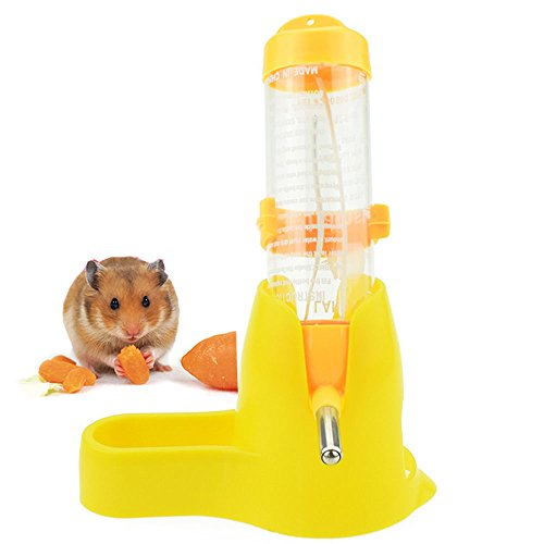 Lonni Hamster Water Bottle, 125 ML Small Animal Water Bottle Water Auto Dispenser with Food Container Base for Hamsters Rabbit Gerbil (Yellow)