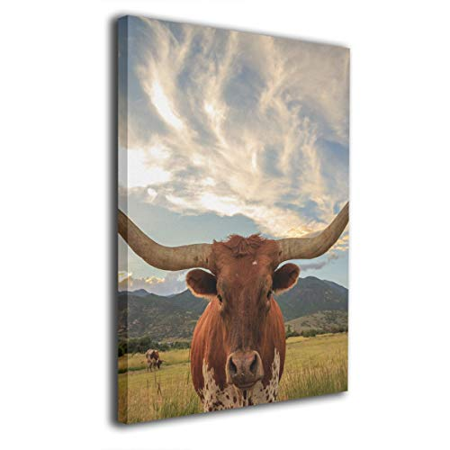 SRuhqu Canvas Wall Art Prints Animal Texas Longhorn -Photo Paintings Modern Home Decoration Giclee Artwork-Wood Frame Ready to Hang