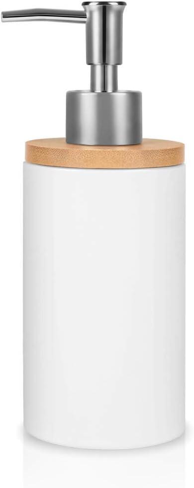 Natheeph Ceramic Soap Dispenser Refillable Liquid Lotion Dispenser Bottle for Kitchen or Bathroom Countertops (White)